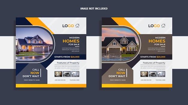 Progettazione di post sui social media immobiliari con forme geometriche creative multicolori e informazioni sulla proprietà.