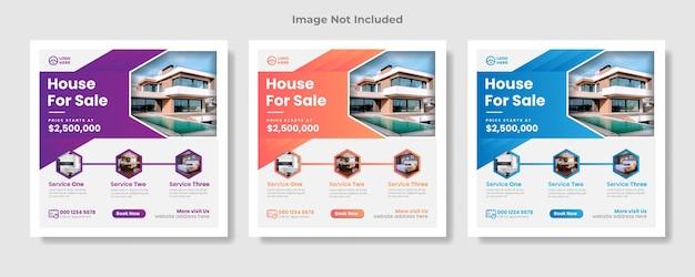 Post di social media immobiliare o banner web quadrato