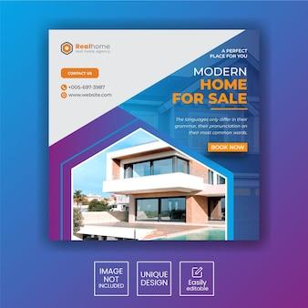 Modello di banner quadrato per social media immobiliare