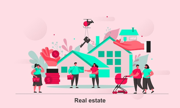 Real estate web concept design in stile piatto con personaggi minuscoli
