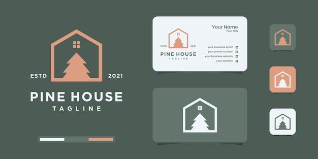Immobiliare con modello di progettazione di logo di pino naturale.