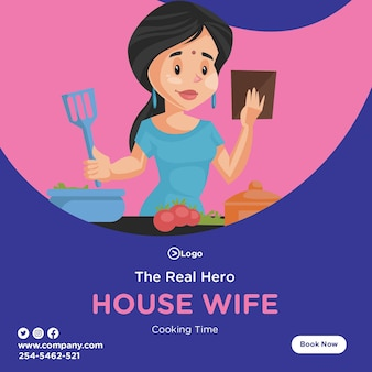 Il vero design da eroe con housewife che cucina il cibo in cucina
