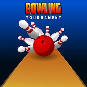 Palla da bowling rossa realistica