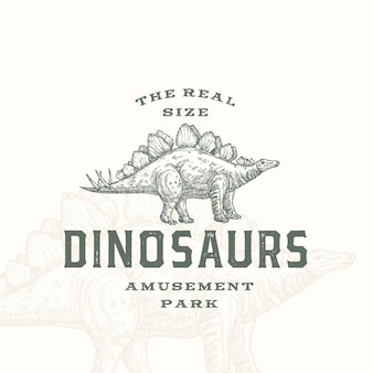 Simbolo o logo del segno astratto del parco di divertimenti dei dinosauri di dimensione reale