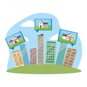 Cartone animato di edifici di stato reale