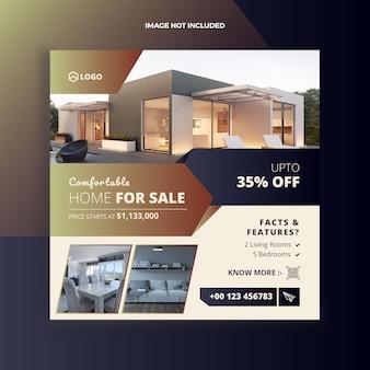 Posta sociale di media di vendita della casa di realestate e bandiera di web
