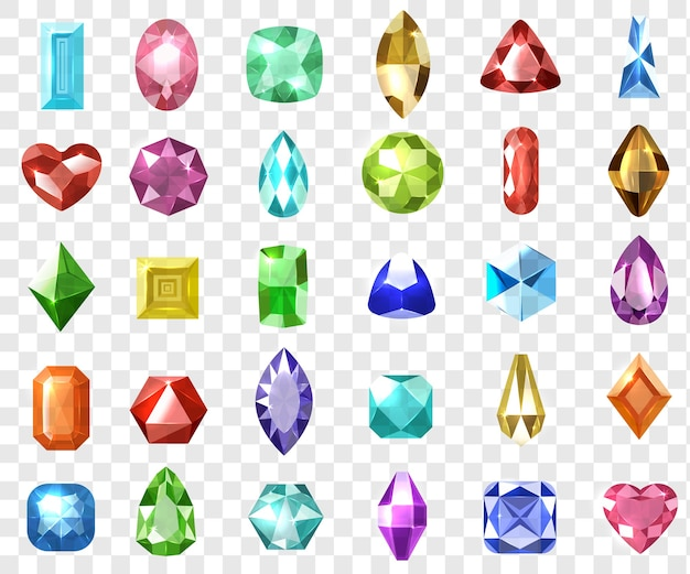 Pietre preziose realistiche incastonate. collezione di gemme di lusso prezioso gioiello di cristallo colorato grafico 3d