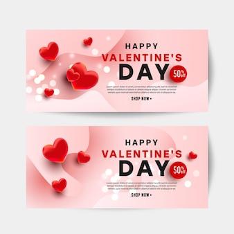 Realistc valentine day vector design card set con cuori 50 per cento di sconto testo su sfondo rosa per sito web, invito, cartolina e adesivo