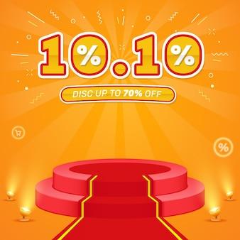 Vendita flash 1010 realistica con modello di post sui social media sul podio