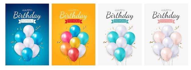 Realistico biglietto di auguri di compleanno con palloncino 3d, insieme di poster da collezione.