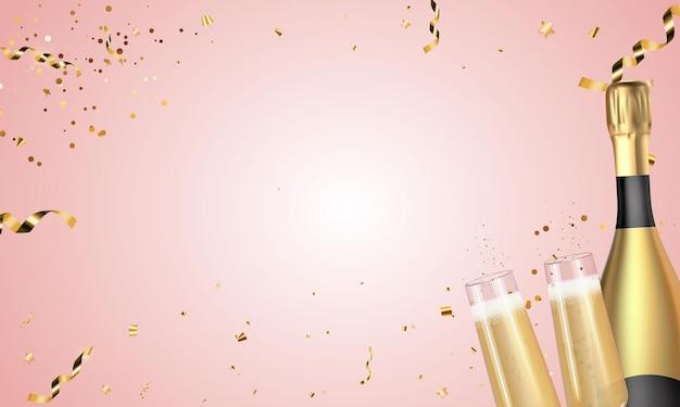 Realistico 3d champagne bottiglia d'oro e sfondo bicchieri