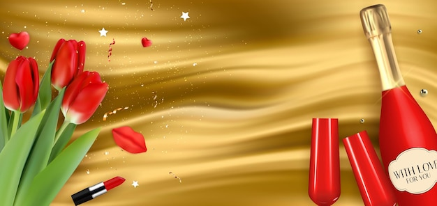 Bottiglia rossa champagne 3d realistica, bicchieri e tulipani su sfondo di seta dorata