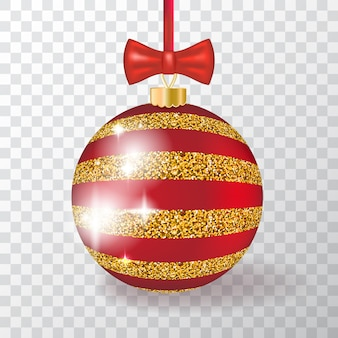 Palla di natale 3d realistica su sfondo trasparente con ornamento dorato. pallina di natale rossa e oro per decorazioni di capodanno