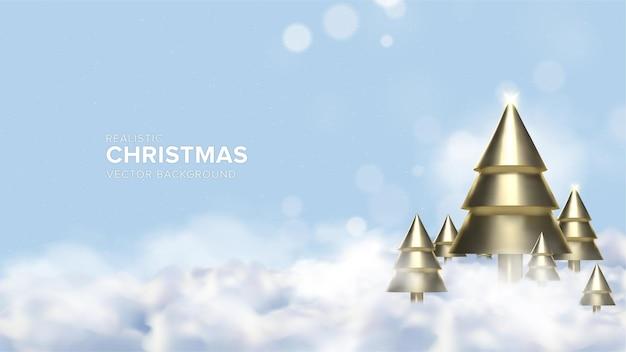 Fondo realistico di progettazione dell'albero di natale 3d nel colore dell'oro sopra le nuvole vettore premium
