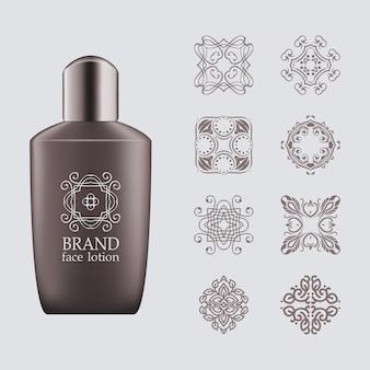 Bottiglia realistica 3d grigio scuro, tappo argento per eco-cosmetici con set di logo di linea