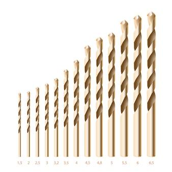 Trapano metallico dettagliato 3d realistico per metallo per punte di perforazione set di strumenti per lavori di costruzione, foro di perforazione.