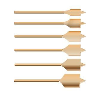 Il trapano metallico dettagliato 3d realistico per i pezzi di legno ha messo gli strumenti per i lavori di costruzione, il foro di perforazione.