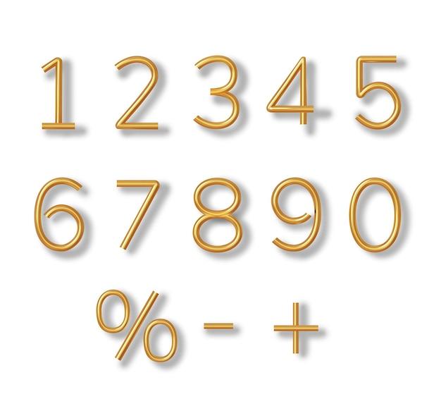 Numeri dorati di colore del carattere 3d realistico