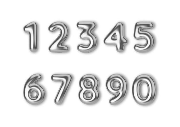 Numeri realistici di colore argento del carattere 3d, numero sotto forma di palloncini di metallo
