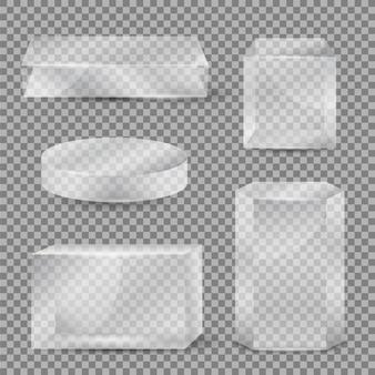 Forme di vetro geometriche 3d realistiche