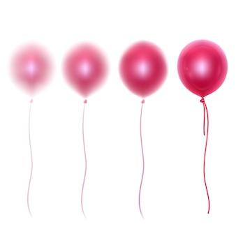 Palloncini lucidi 3d realistici di colori rosa con effetto sfocato
