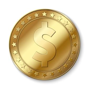 Moneta realistica di vettore del dollaro dell'oro 3d isolata su bianco. simbolo dell'abbondanza di contanti