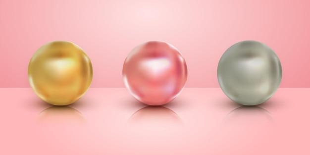 Set di raccolta di palline d'argento rosa oro 3d realistiche