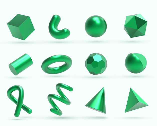 Oggetti di forme geometriche realistiche in metallo verde 3d.