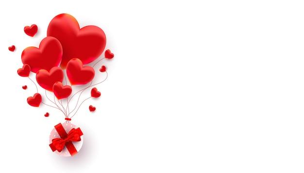 Realistici palloncini a forma di cuore 3d decorano con regalo a sorpresa