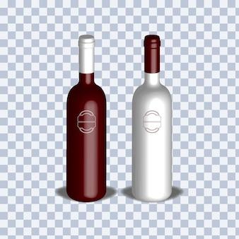 Illustrazione realistica in 3d di una bottiglia di vino