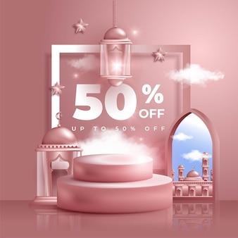 Banner di vendita islamico 3d realistico per sfondo eid mubarak o eid al fitr