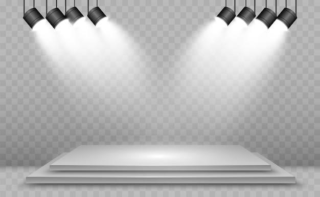Scatola luminosa 3d realistica con sfondo della piattaforma per prestazioni di design, spettacolo, mostra. illustrazione di lightbox studio interior. podio con faretti.