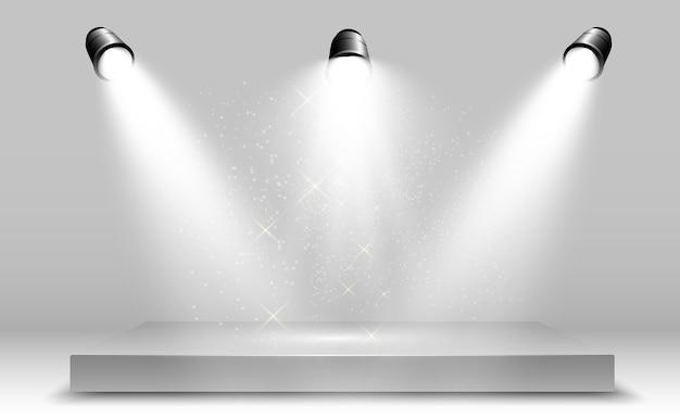 Scatola luminosa 3d realistica con sfondo della piattaforma per prestazioni di design, spettacolo, mostra. lightbox studio interior. podio con faretti.