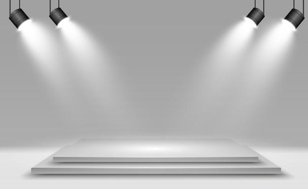 Scatola leggera 3d realistica con fondo piattaforma per spettacolo, spettacolo, mostra. illustrazione di lightbox studio interior. podio con faretti.