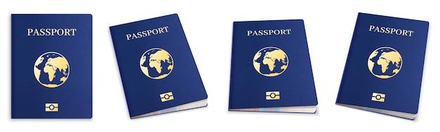 Set di passaporti 3d realistici
