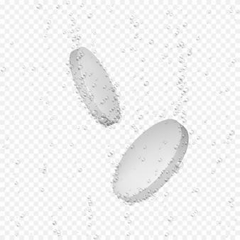 Pillola 3d realistica con le bolle. dose dissolvente di antidolorifici