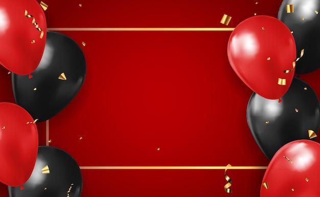 Sfondo rosso 3d realistico con palloncini e coriandoli Vettore Premium