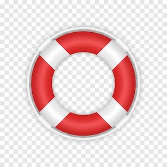 Salvagente rosso 3d realistico. illustrazione della scialuppa di salvataggio di salvataggio marino isolata su sfondo trasparente