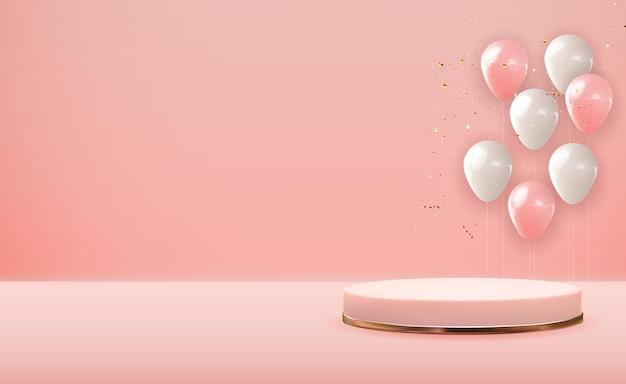 Realistico piedistallo in oro rosa 3d su pastello rosa con palloncini festa