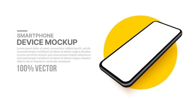 Modello realistico di smartphone 3d con schermo vuoto per lo sviluppo di app e la progettazione dell'interfaccia utente ux