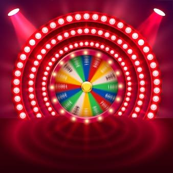 Ruota della fortuna rotante 3d realistica. roulette fortunata.