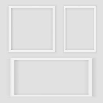Cornice quadrata bianca e rettangolare bianca realistica 3d