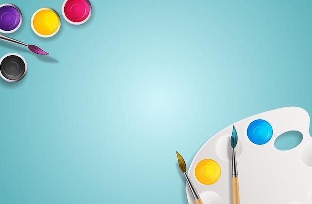 3d realistici, barattoli con pennello e arte della tavolozza