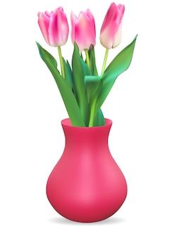 Vaso 3d realistico con fiore di tulipani.