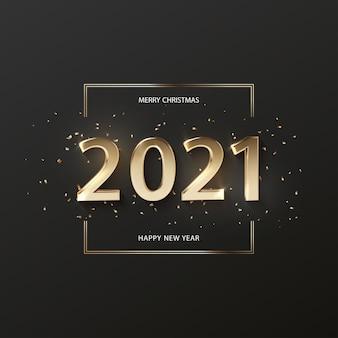 Numeri volumetrici 3d realistici 2021 su sfondo nero