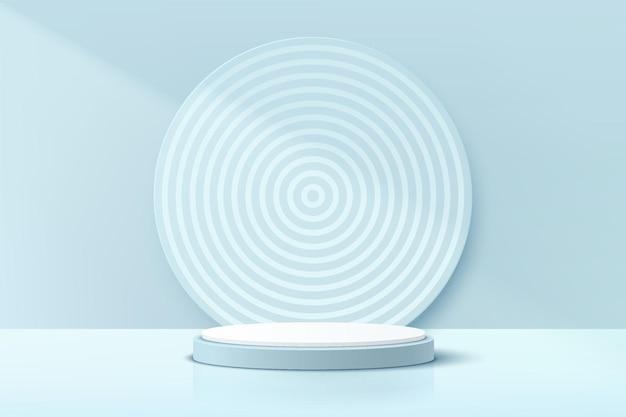 Podio realistico 3d con piedistallo cilindrico bianco e blu pastello con sfondo con motivo a spirale circolare