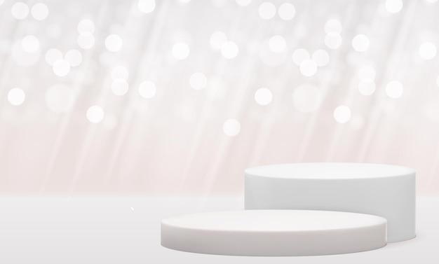 Piedistallo bianco 3d realistico con effetto luci bokeh