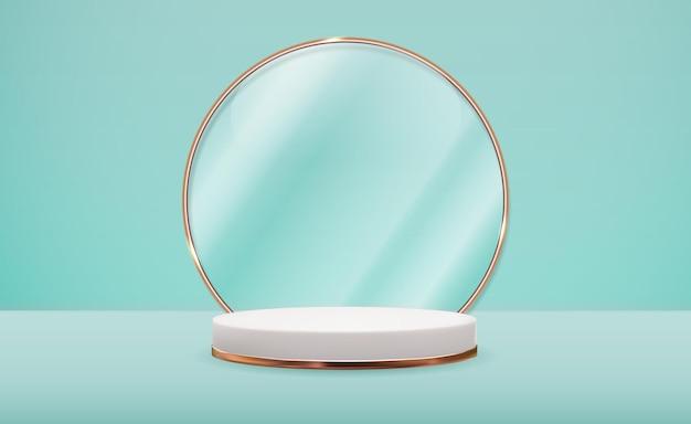 Piedistallo bianco 3d realistico con cornice ad anello in vetro dorato su sfondo naturale pastello blu. display alla moda del podio vuoto