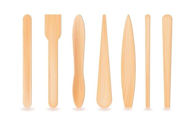 Bastoncini 3d realistici in legno o plastica.