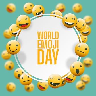 Illustrazione realistica della giornata mondiale degli emoji in 3d